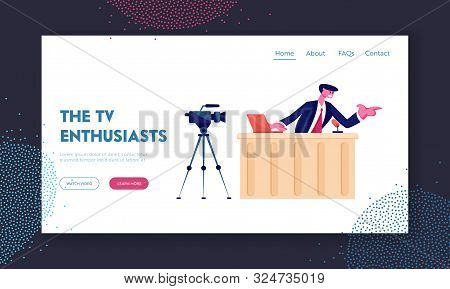 Night Entertainment Show Or News Broadcasting Website Landing Page. Anchorman Sitting In Studio In F