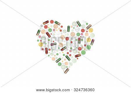 Heart Shape Pills. Vector Illustration. Cardiac Medicament.
