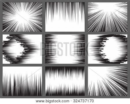 Black White Comic Book Speed Lines, Explosion Effect. Abstract Vector Radial Zoom Speed Light, Motio