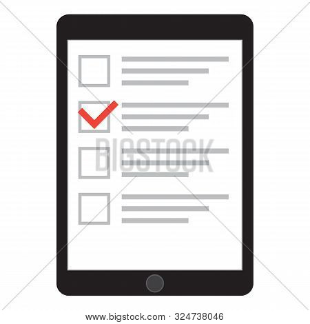 Computer Tablet With Checklist On Screen. Online Form Survey, Tablet With Showing Long Quiz Exam Pap