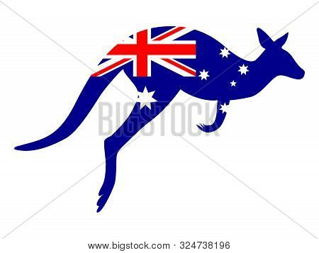 Australia Day. National Patriotic Holiday In Australia. Kangaroo Recognizable Animal In Country. Cel