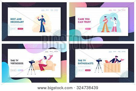 Tv Show Broadcasting, Vaccination Procedure And Mailman Occupation Website Landing Page Set. Male An