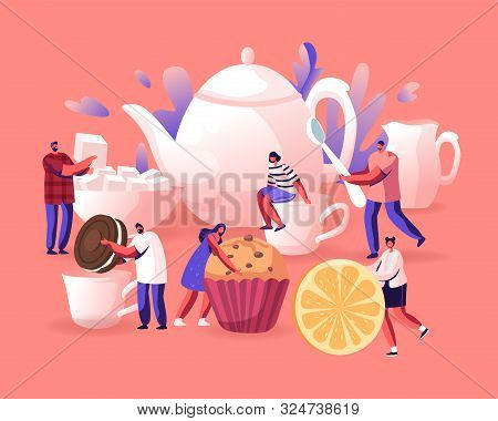 Tea Party, Hot Beverage For Cold Season Concept. Tiny Men And Women Prepare To Drink Tea With Pastry