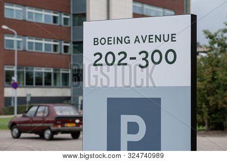 Schiphol-rijk, The Netherlands, 09/27/2019, Street Sign Boeing Avenue 202-300, Schiphol-rijk, Vintag
