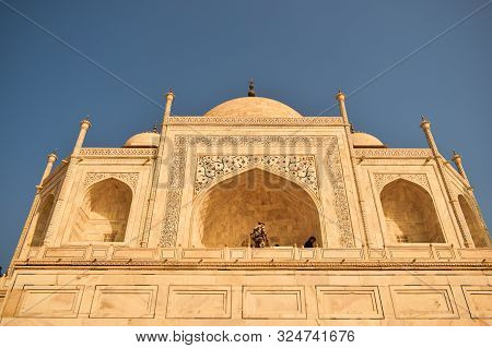 Agra, India - 28 September, 2019: Abstract Background Of Taj Mahal, Close Up Of Taj Mahal, Front Vie