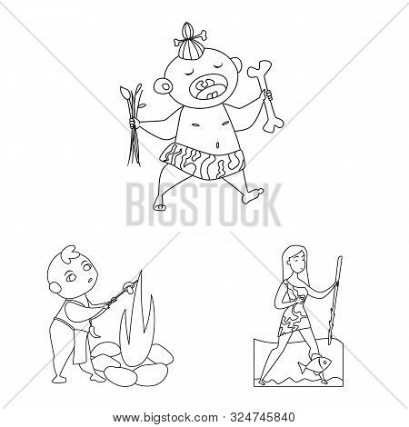 Isolated Object Of Primitive And Archeology Icon. Set Of Primitive And History Vector Icon For Stock