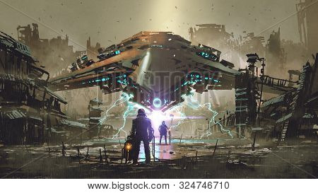 The Encounter Between Two Futuristic Humans With The Spaceship In The Background Against An Abandone