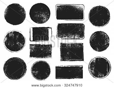 Grunge Post Stamps. Round And Rectangular Badges With Distressed Texture. Scratched Blank Rubber Sea