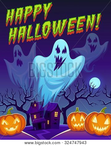 Ghosts Poster. Happy Halloween Funny Cute Spirit Characters, Flying Ghost Monsters And Pumpkins. Car