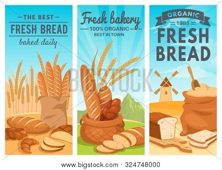 Bread Banners. Rye Bread Bakery Shop, Wheat Baguette And Croissant, Cupcake And Toast, Cookie And Ba