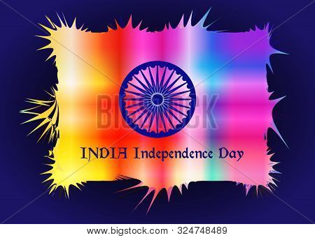 Happy Indian Independence Day Celebration. Abstract Background Of Indian Colors And Symbol Of The Wh