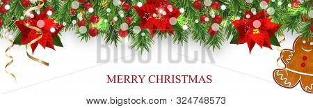 Christmas Border Decorations With Fir Branches, Holly Berries, Poinsettia, Gingerbread Cookies Man A