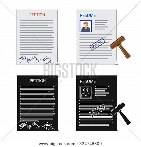 Vector Illustration Of Form And Document Symbol. Collection Of Form And Mark Stock Vector Illustrati