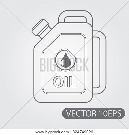Jerrycan Oil Icon Black And White Outline Drawing.
