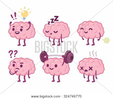 Funny Cartoon Brain Character Drawing Set. Smart Brain With Lightbulb, Sleeping, Farting, Thinking,