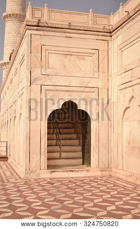 Abstract Background Of Architectural Details Of Mosque, Mosque Entrance, Arch Doorway Entrance, Isla
