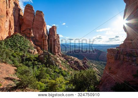 Sedona Is A Red Rock City In Arizona, United States Of America, Red Sandstone Formations, Travel Usa