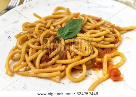 Plate With Tuscan Pici Pasta With Garlic And Tomato
