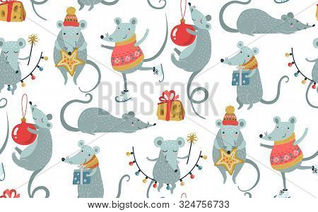 Vector Seamless Pattern Of 2020 Chinese New Year Simbol. Mouse, Rat Horoscope Sign. Hand Drawn Endle