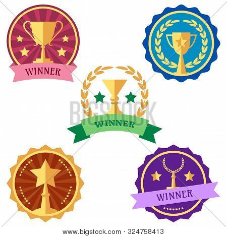 Colorful Set Of Logo Awards And Cups. Vector Illustration