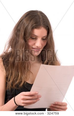 Pretty Teenager Reading The Mail