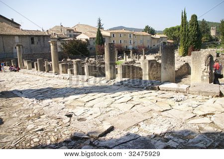 Ruins of Roman villas in the Villasse Roman ruins Vaison la Romaine France.. poster