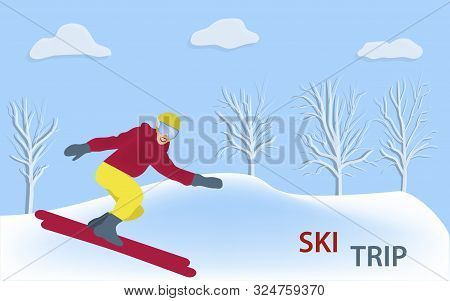 Skier, Girl In A Bright Suit, Helmet, Snowdrifts, Trees - Abstract Background - Illustration, Vector