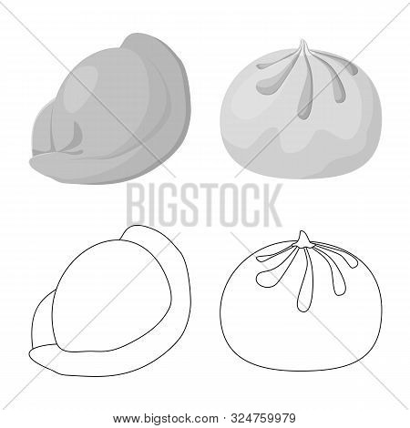 Vector Illustration Of Products And Cooking Symbol. Collection Of Products And Appetizer Stock Symbo
