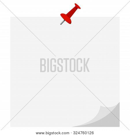 Vector Flat Design Icon Of Empty White Paper Sticker Pinned Red Pushbutton Curled Corner Isolated On