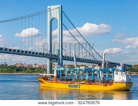 New York, New York - July 7, 2017: The Verrazzano Bridge Is A Suspension Bridge That Connects Staten