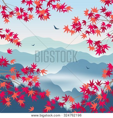 Simple Autumn Landscape With Blue Foggy Mountains, Japanese Maple Red Leaves And  Branches. Nature B