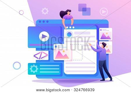 Young People Are Engaged In Web Design, Website Page Development. Flat 2d Character. Concept For Web