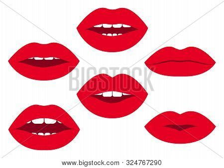 Set Of Red Woman's Lips With Different Emotions. Vector Illustration