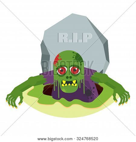 Green Toothy Zombie With Red Eyes Climbs Out Of The Grave