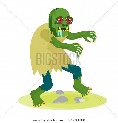 Green Toothy Zombie With Red Eyes Walks With Outstretched Arms