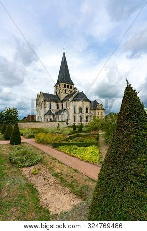 View Of The Historic Abbey Of Saint-georges And Grounds In Boscherville In Upper Normandy