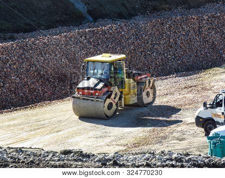 Belgrade, Serbia, September 27, 2019. Steamroller On The Construction Site Belgrade Waterfront.