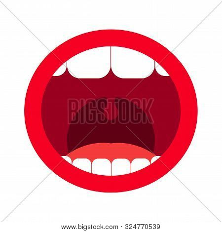 Cartoon Open Mouth With Teeth. Vector Illustration