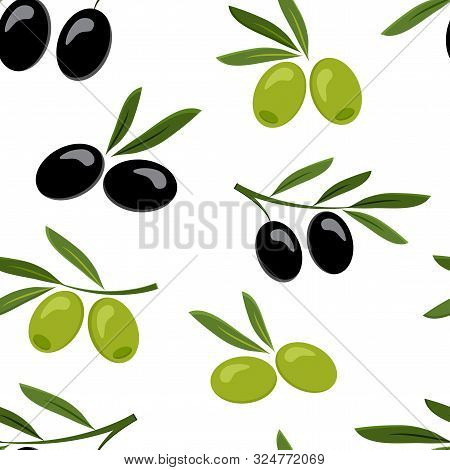 Seamless Pattern With Black And Green Olives. Vector Illustration