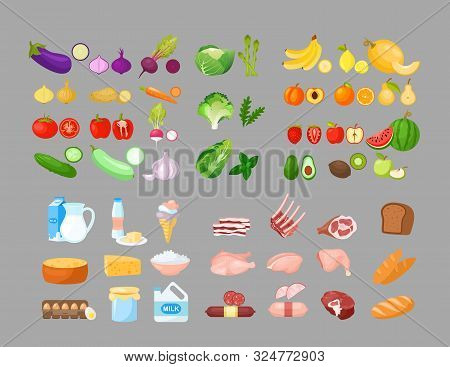 Food Cartoon Vector Illustrations Set. Fruits, Vegetables, Bakery, Dairy And Meat Produce. Foodstuff
