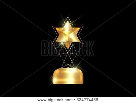 HOLLYWOOD  Movie PARTY Gold STAR AWARD Statue Prize Giving Ceremony. Golden star trophy prize concept, Silhouette statue icon. Films and cinema symbol stock, Academy award vector isolated or black