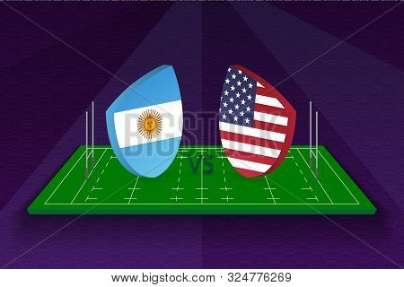 Rugby Team Argentina Vs Usa On Rugby Field. Sport Vector Template.