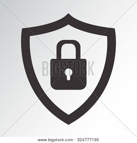 Black Security Icon. Protection Symbol. Shield With Padlock. Vector Illustration