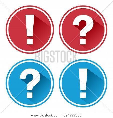 Exclamation Point And Question Mark. Red And Blue Round Icons. Vector Illustration