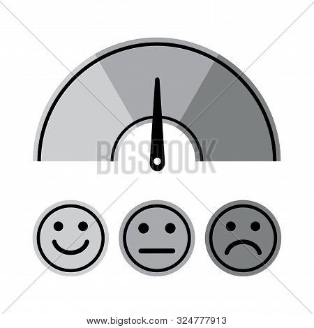 Scale With Arrow And Smile Faces. Gray Scale Of Emotions. Measuring Device Icon Sign. Vector Illustr