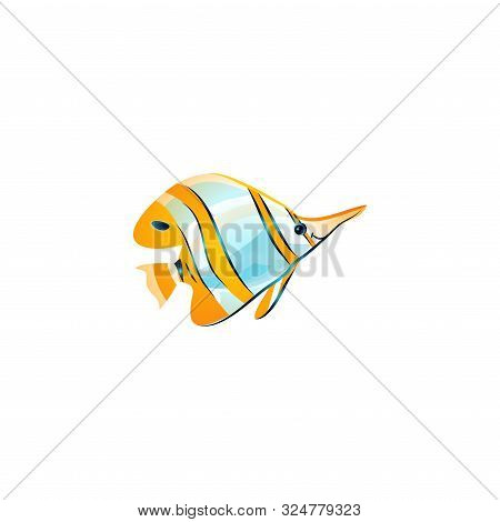 Opper Banded Butterflyfish. Vector Illustration In The Flat Cartoon Style