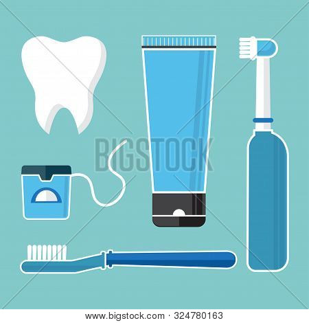 Oral Care And Hygiene, Brushing Teeth. Set Of Dental Cleaning Tools. Tooth, Toothbrush, Electric Too