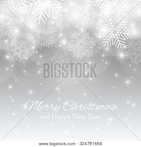 Merry Christmas Background With Abstract Snowflakes.  Winter Silver Background. Template For Your De