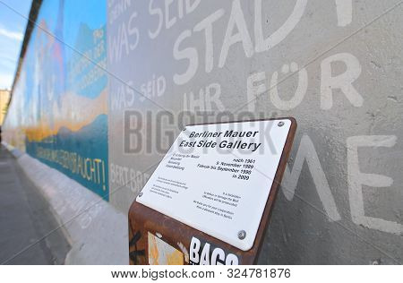 Berlin Germany - June 9, 2019: Berlin Wall At East Side Gallery Berlin Germany