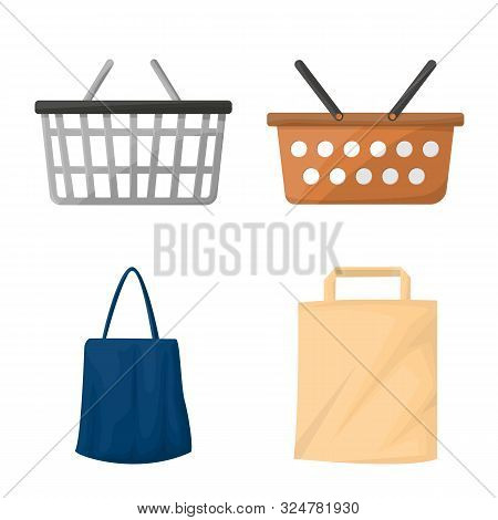 Isolated Object Of Cart And Supermarket Icon. Collection Of Cart And Pushcart Stock Symbol For Web.